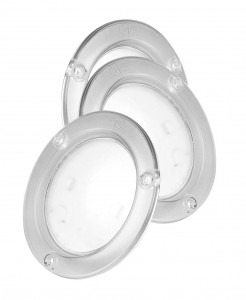61H21-3 – LED WhiteLight™ 4″ Dome Light, Integrated Flange, Hardwired, 24V, Clear, Bulk Pack