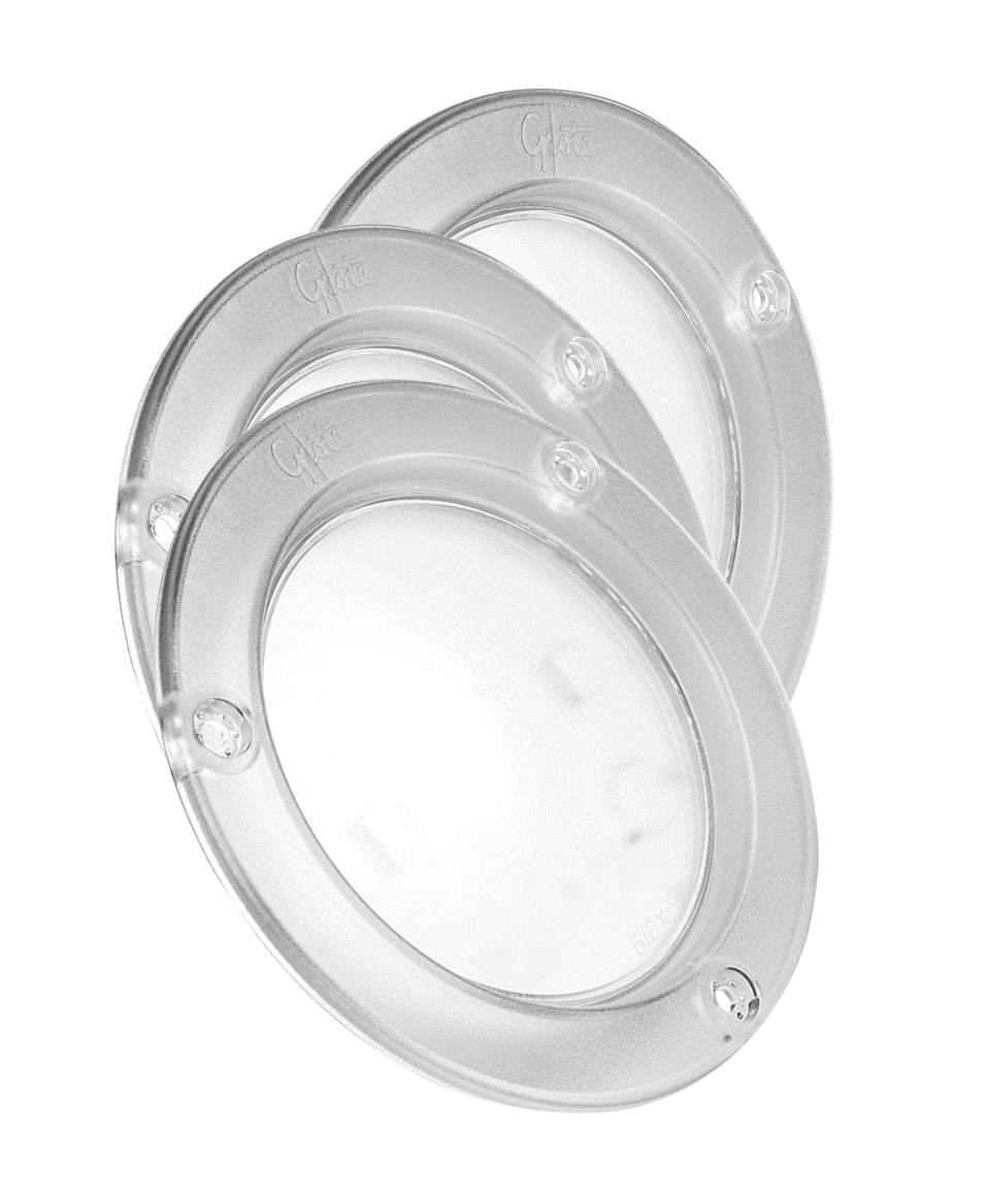 Grote Industries - 61H51-3 – LED WhiteLight™ 4″ Dome Light, Integrated Flange, Hardwired, 12V, Clear, Bulk Pack