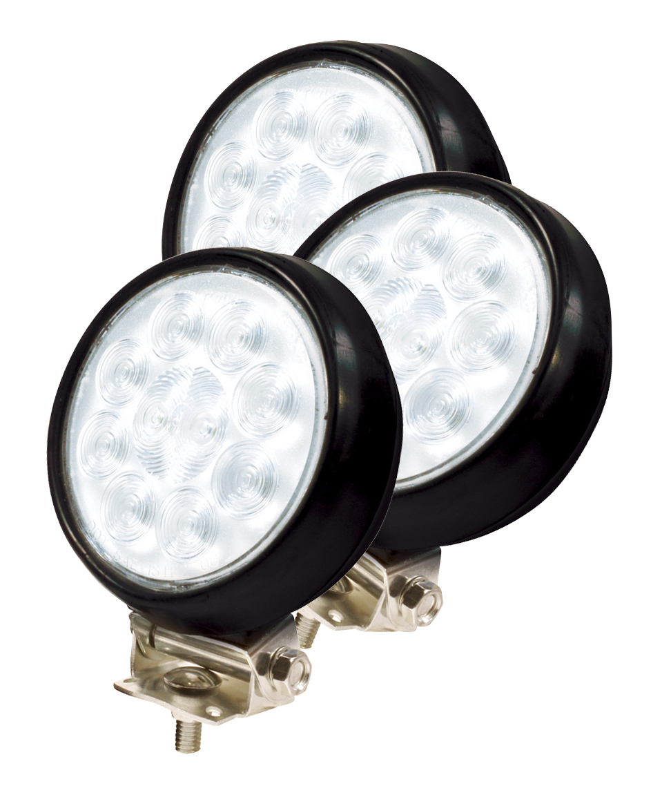63561-3 – 4″ Round Utility Lights, Hardwire, Spot w/ Rubber Housing, Black, Bulk Pack