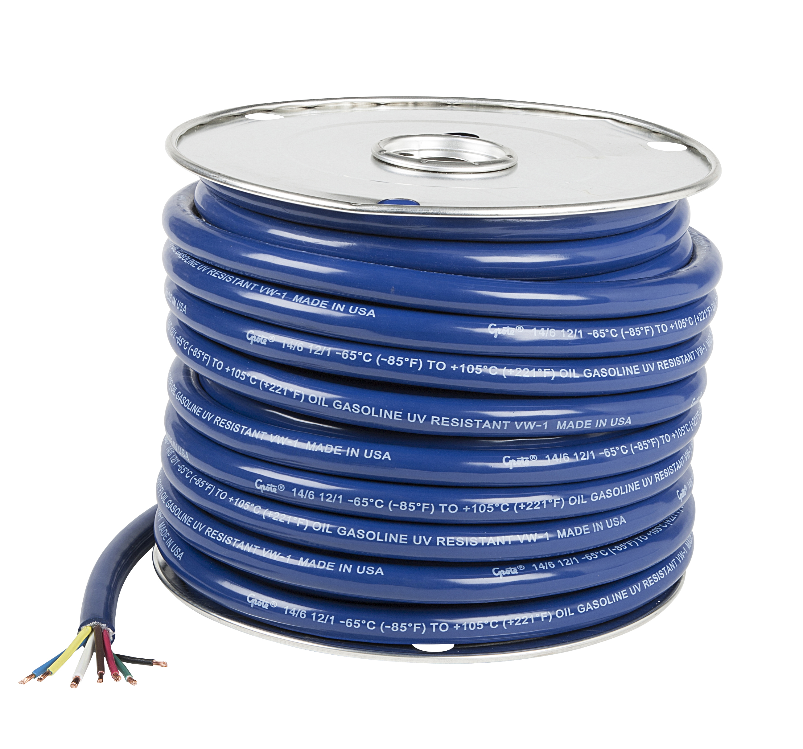 Grote Industries - 82-5827 – Low Temp Trailer Cable, 7 Conductor, 6/14, 1/12 Gauge, 100′ Spool