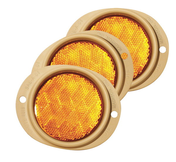 Grote Industries - 82563-3 – Steel Two-Hole Mounting Reflector, Yellow, Bulk Pack