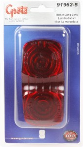 91962-5 – Clearance Marker Replacement Lens, Two-Bulb Square, Red, Retail Pack