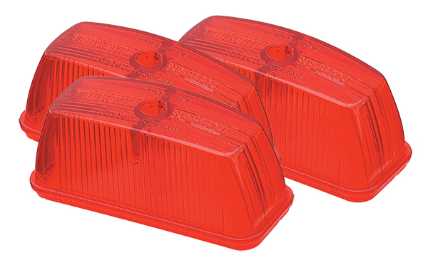 Grote Industries - 99802-3 – Clearance Marker Replacement Lenses, School Bus Rectangular, Red, Bulk Pack