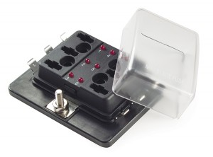 82-BLM-I-306 – LED Fuse Panel For Miniature Blade Fuses, with cover (6 Position)