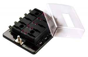 82-BLM-I-310 – LED Fuse Panel For Miniature Blade Fuses, with cover (10 Position)