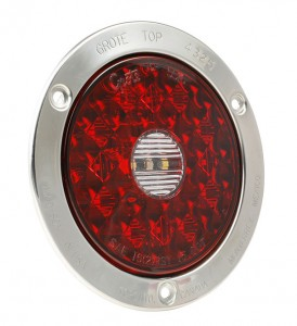 55202 – 4″ Round LED Stop Tail Turn Light with Integrated Backup, Stainless Steel Flange, Hard Shell Termination