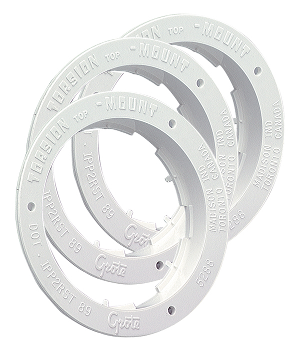 92510-3 – Theft-Resistant Flange For 4″ Round Lights, White, Bulk Pack