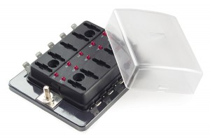82-BLR-I-310 – LED Fuse Panel For Standard Blade Fuses, with cover (10 Position)