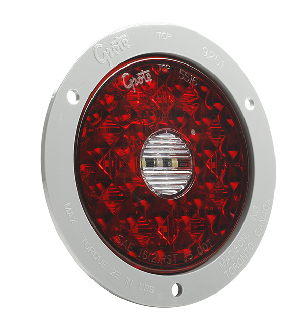 Grote Industries - 55212 – 4″ Round LED Stop Tail Turn Light with Integrated Back-Up, Gray Polycarbonate Flange, Hard Shell Termination