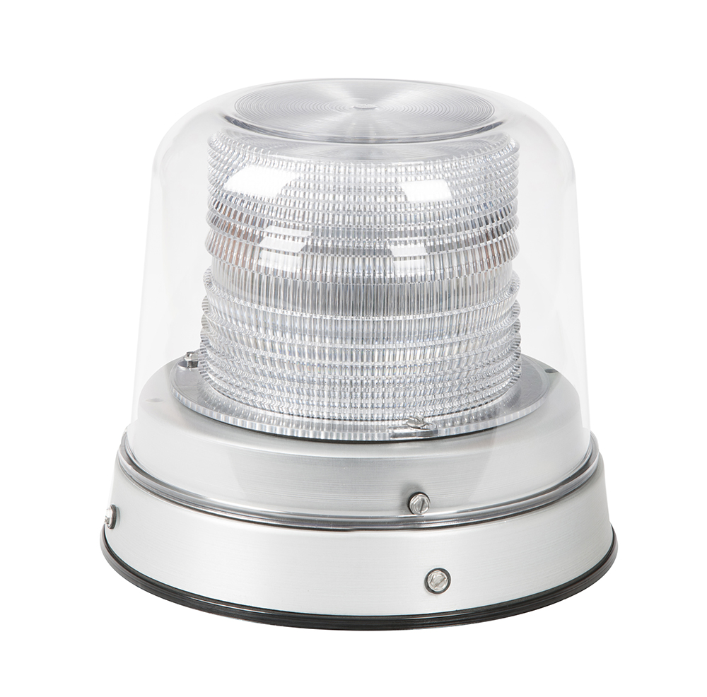 78010 – LED Beacon, Class I, Permanent Mount, Tall Dome, Dual Color: Amber/Blue, Clear Dome