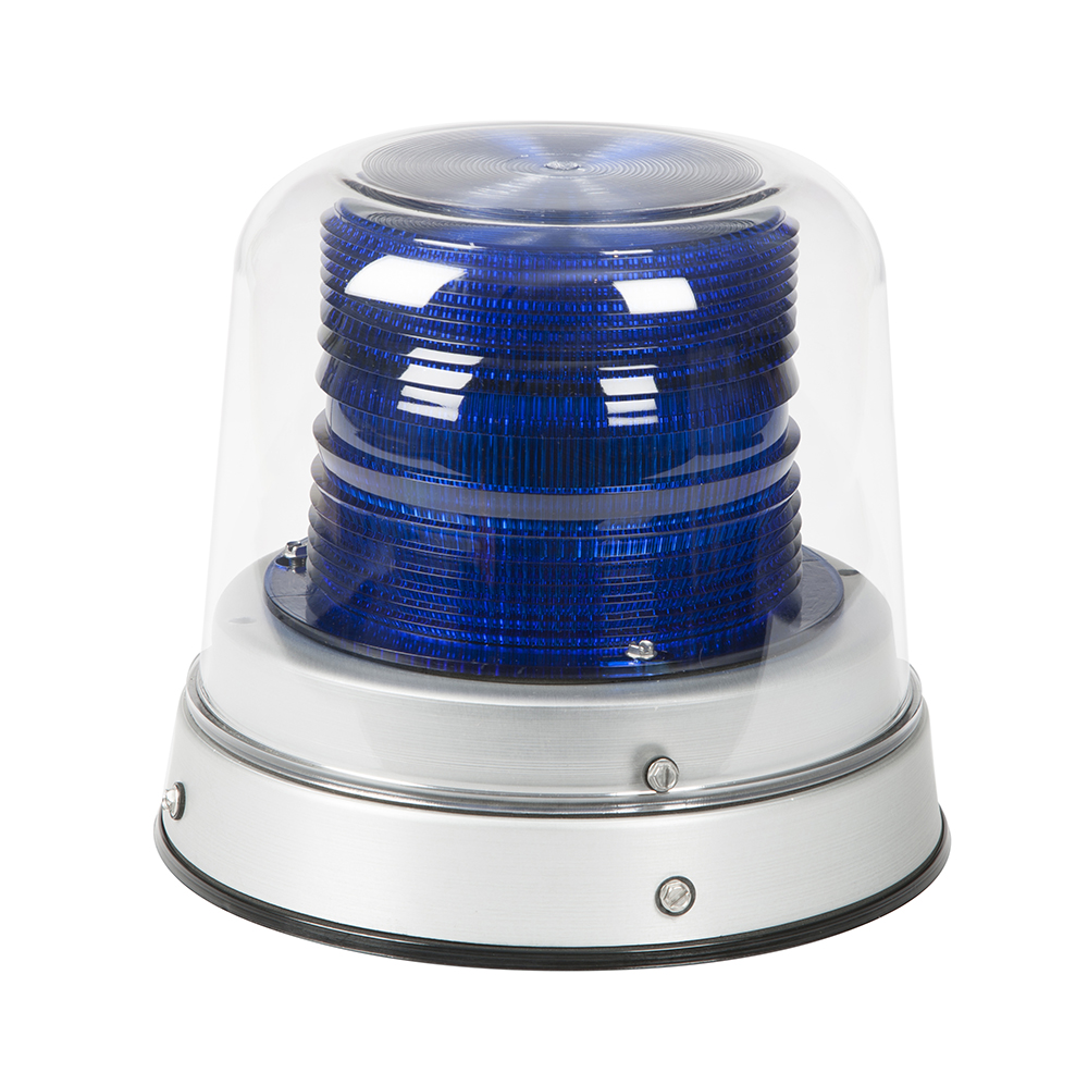Grote Industries - 78015 – LED Beacon, Class II, Permanent Mount, Tall Dome, Blue, Clear Dome