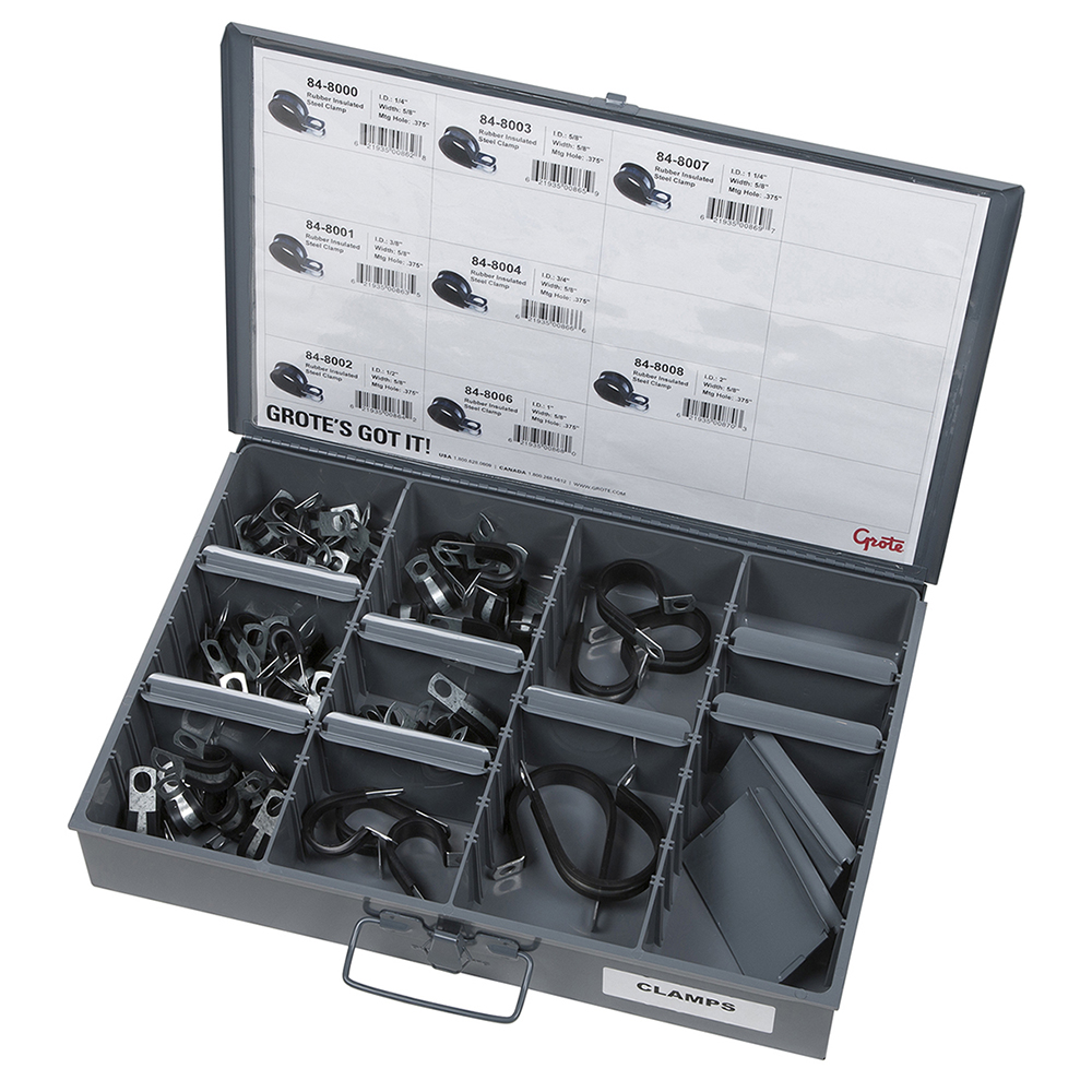 Grote Industries - 83-6658 – Fleet & Installer Assortment Tray – Rubber Insulated Steel Clamps
