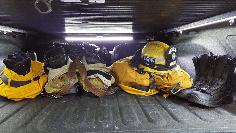 LED light strips showing a fireman's gear