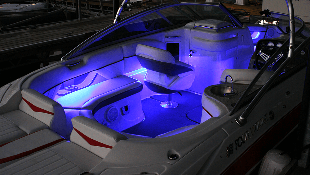 LED light strips on the interior of a boat at night