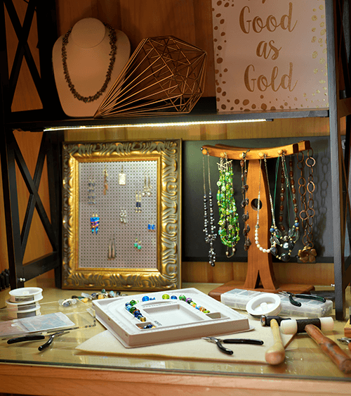 LED light strip being used to light up jewlery work bench