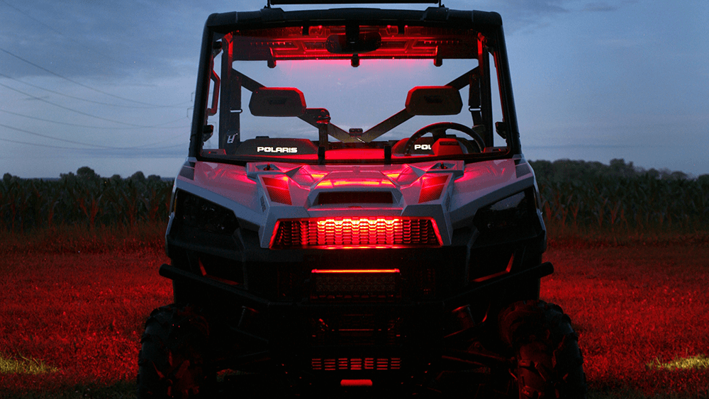 LED light strips on a polaris ATV at night