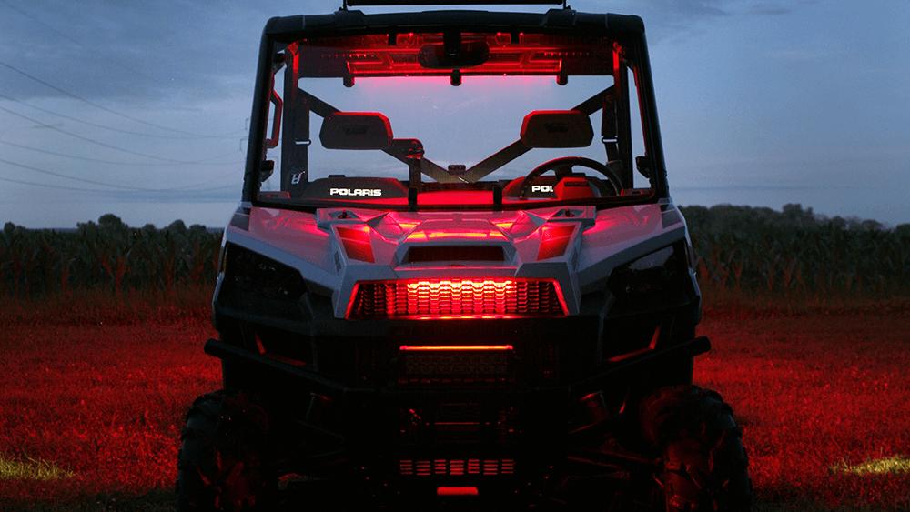 LED light strips on a polaris ATV at night