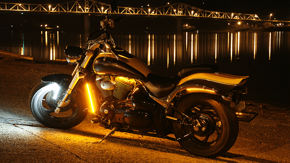 LED light strips on a motorcycle at night